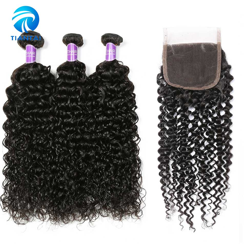 TIANTAI Kinky Curly 3 Bundles With 4 4 Lace Closure Human Hair Extensions Hair Wave Brazilian