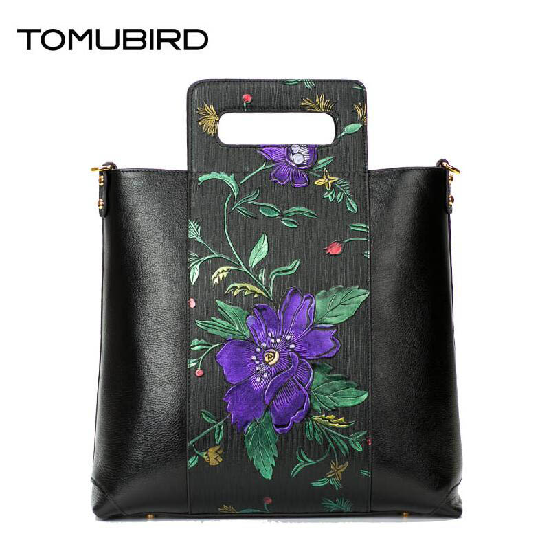 TOMUBIRD new Superior cowhide leather Painted embossed famous brand women bag fashion genuine leather handbags Tote bag tomubird new superior cowhide leather designer rose embossed famous brand women bag fashion tote women genuine leather bag