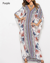 Spring and summer new style Fashion bohemian dress Printed casual fashion Bat sleeve loose