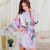 Bata de seda de Las Mujeres Del Satén Kimono Robes Para Las Mujeres Florales Túnicas Novia Damas de Honor Vestido Largo Kimono Bata Bata de Seda