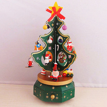 christmas decorations for home wooden rotating christmas tree music box christmas gift music box christmas desktop ornament