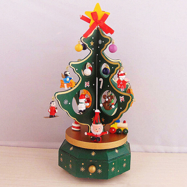 christmas decorations for home wooden rotating christmas tree music box christmas gift music box christmas desktop - Wooden Box Christmas Decorations