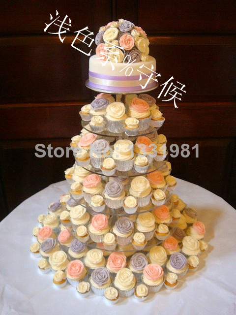 Us 78 88 6 Tier Crystal Clear Circle Round Acrylic Cupcake Tower Stand Wedding Birthday Cake Decorations Acrylic Cupcake Stand Decoration In Party