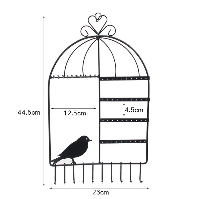 TONVIC Birdcage Shape Wall Mount Jewelry Organizer Hanging Earring