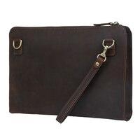 Tiding Men Leather Clutch Envelope Bag Purse Handbag Dark Brown Multifunctional Shoulder Bag 4091
