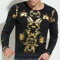 Luxury Men T Shirts Long Sleeve Brand Clothing 2016 Newest Autumn Fashion Casual Dragon Print Men Cotton Top Tee Shirt For Male