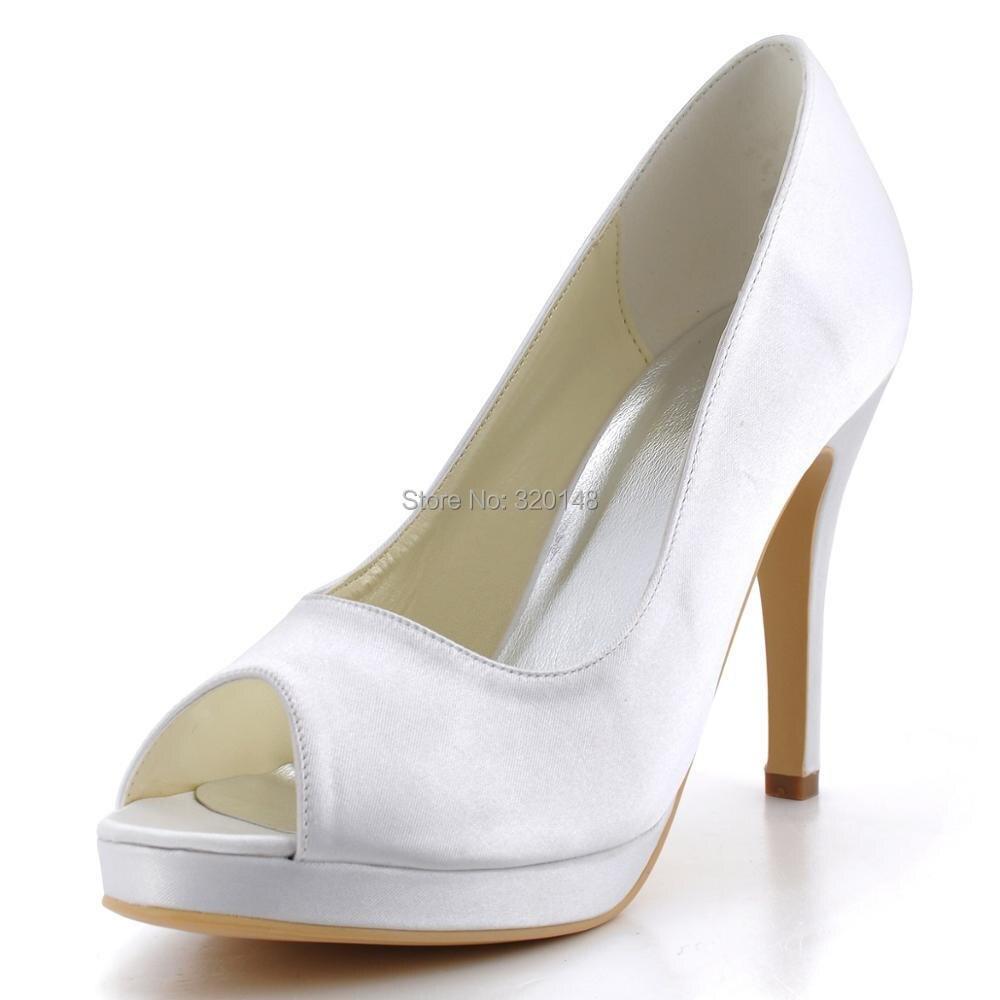 Женская обувь; EP2098 PF; цвет слоновой кости; белые туфли лодочки на платформе и высоком каблуке; атласные женские вечерние свадебные туфли для выпускного вечера - 2