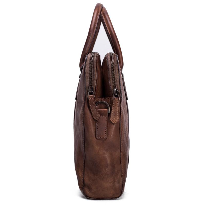 Vintage Vegetable Tanned Men Leather Briefcase Messenger Bag Laptop Bag 3