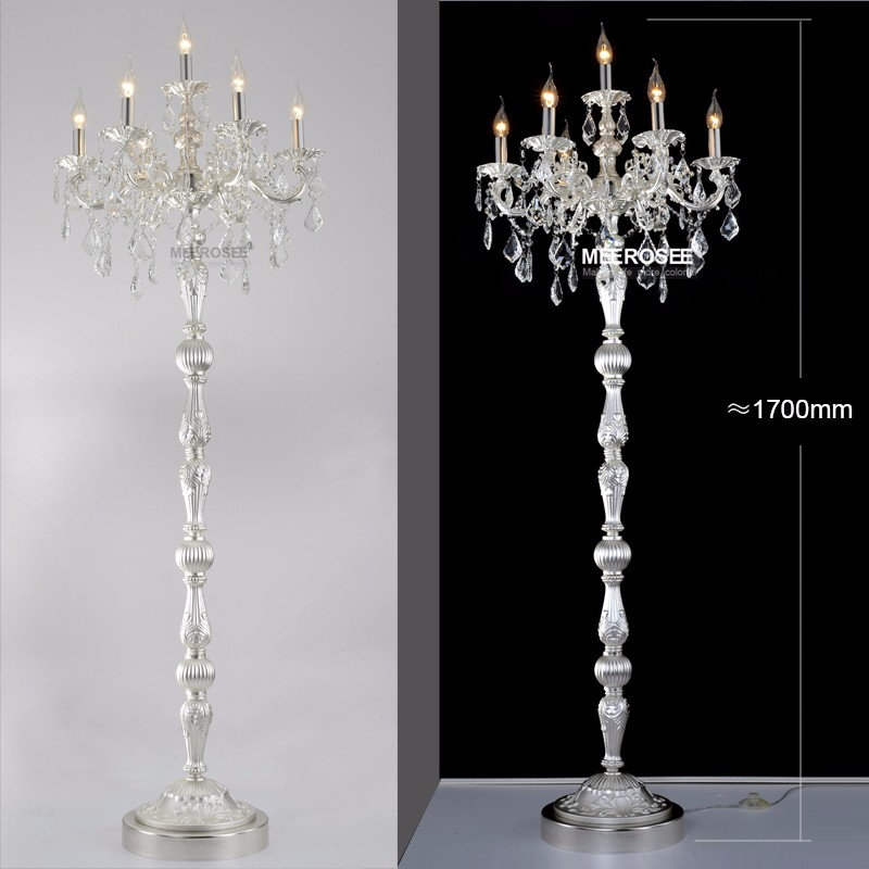 Vintage crystal floor lamp silver stand light fixture crystal light getsubject aeproduct aloadofball Image collections