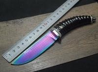 Damascus Steel Knife Blade Hunting Knife Horn G10 Copper Handle Handmade Damascus Forged Steel Knife Gift