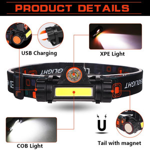 12000lm Powerful Headlight Xpe+cob Usb Rechargeable Headlamp Built-in Battery Head Light Waterproof Head Torch Camping Head Lamp
