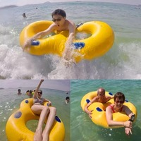 Creative 120x60cm Inflatable Double Swimming Rings Pool Floating Ring with Handrail for Summer Beach Swimming Pool Party