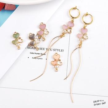 10 sztuk/partia 13*22mm serce emalia Charms złącze kolczyk biżuteria znalezienie DIY Craft więcej mody
