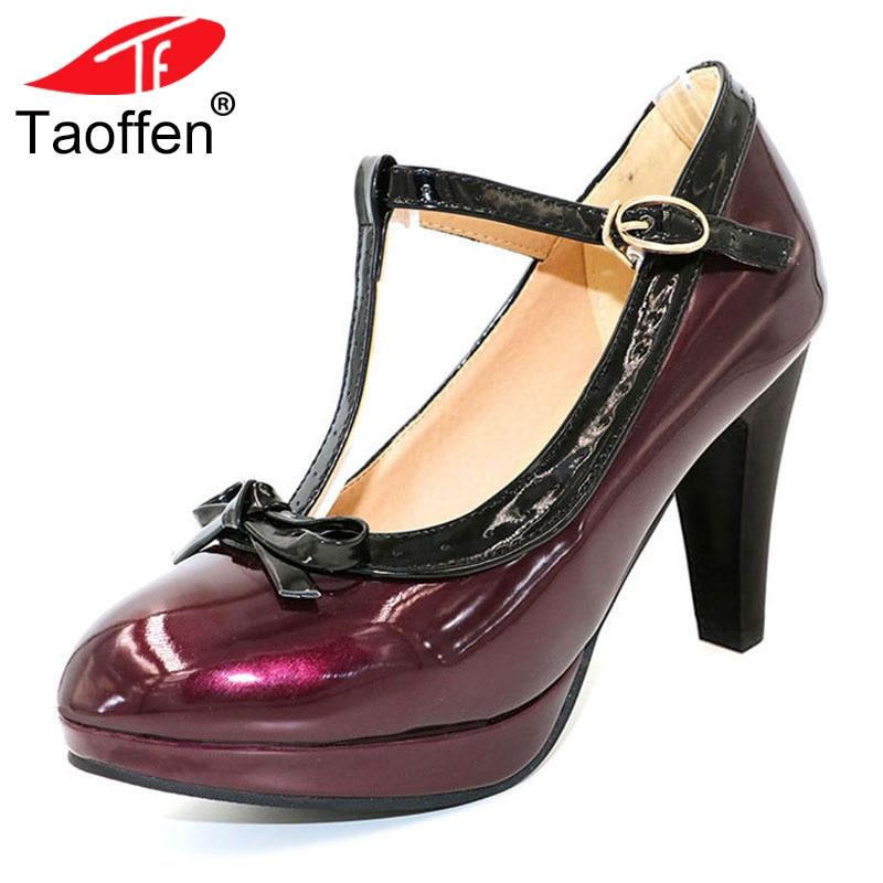 TAOFFEN tamaño 32-48 mujeres Sexy zapatos de tacón alto de las mujeres bombas T Correa verano maduro zapatos partido boda de la señora zapatos de tacón alto calzado