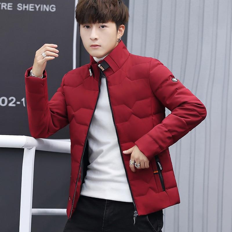 Зимняя куртка, Мужская хлопковая одежда, модная мужская зимняя теплая приталенная куртка пуховик, мужская куртка на молнии, однотонное пальто-in Парки from Мужская одежда