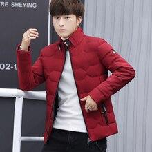 Jaqueta de inverno masculina roupas de algodão moda inverno quente fino para baixo jaqueta masculina com zíper casaco sólido