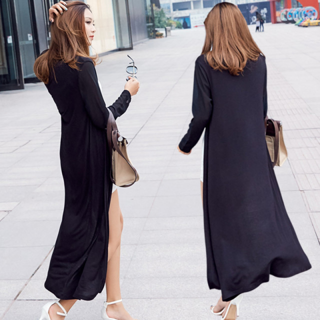 2018 Summer Autumn Women Long Cardigans Casual Thin Chiffon Patchwork Modal Cardigan Jacket Female Long Sleeve Coat Outwear 1021