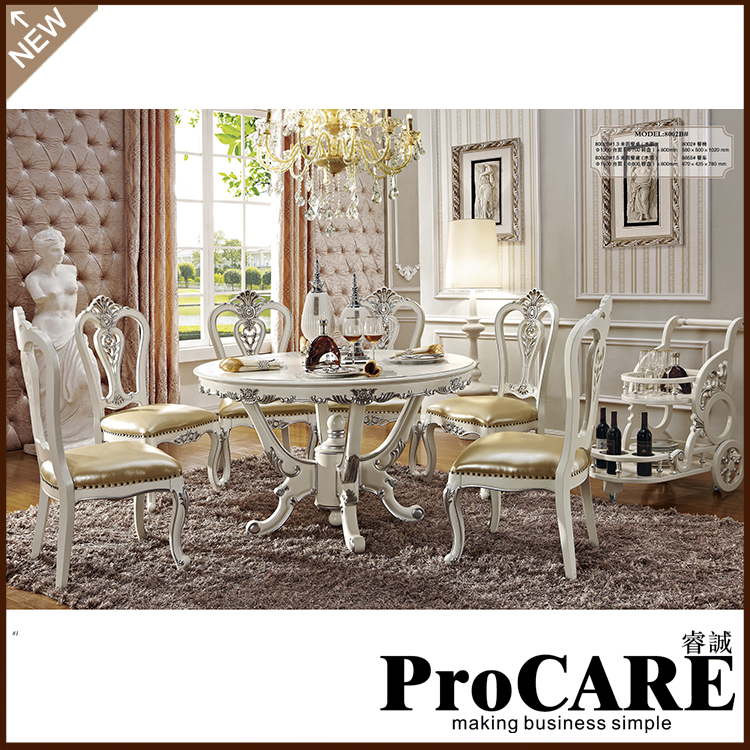 Wholesale Royal Style American Marble Dining Table Set