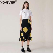 8219ca7469 100% las mujeres de seda de falda Midi amarillo flor negro falda