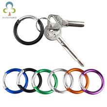1Pc Aluminum Alloy Plated Gate Spring O-Ring Buckles Clips Carabiner Purses Handbags Round Push Trigger Snap Carabiner GYH(China)