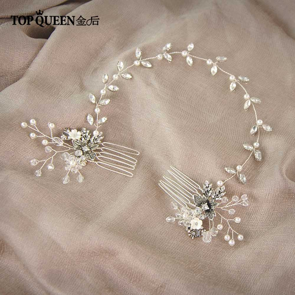 مشط شعر للزفاف من TOPQUEEN طراز HP26 ، أمشاط لحفلات الزفاف ، أغطية الرأس ، خوذة الزفاف ، إكسسوارات شعر الزفاف