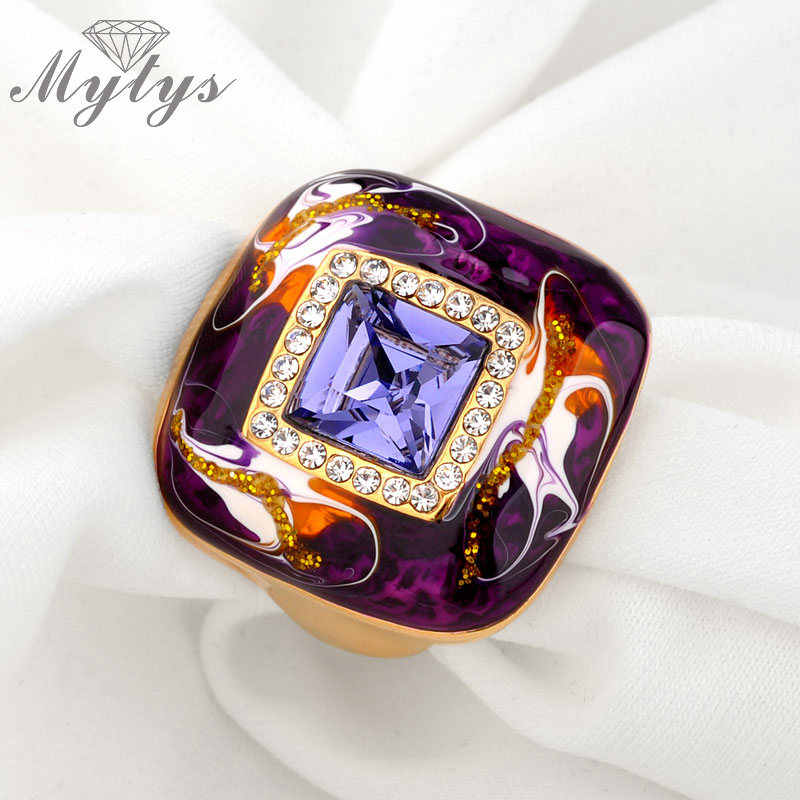 Mytysสีม่วงสีฟ้าผู้หญิงแหวนแฟชั่นเคลือบเทคโนโลยีขายส่งเครื่องประดับR931