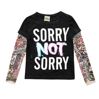 Boy Clothes Cotton T-shirt Long Sleeve Children Tee Shirts Novelty Tattoo Sleeve Baby Girl Tops Autumn Kids Top Boys T Shirts