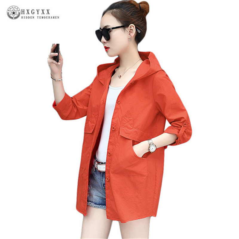 2018 Summer Autumn Jacket Womens Hooded Female Coat Fashion Solid Color O-neck Thin Windbreaker Outwear Harajuku Casacos Okd065
