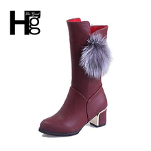 HEE GRAND 2017 Winter New Cute Knee Boots Autumn Mid Heel Riding Boots Red Shoes Women Girl Big size Fat Women 35-41 XWX6042