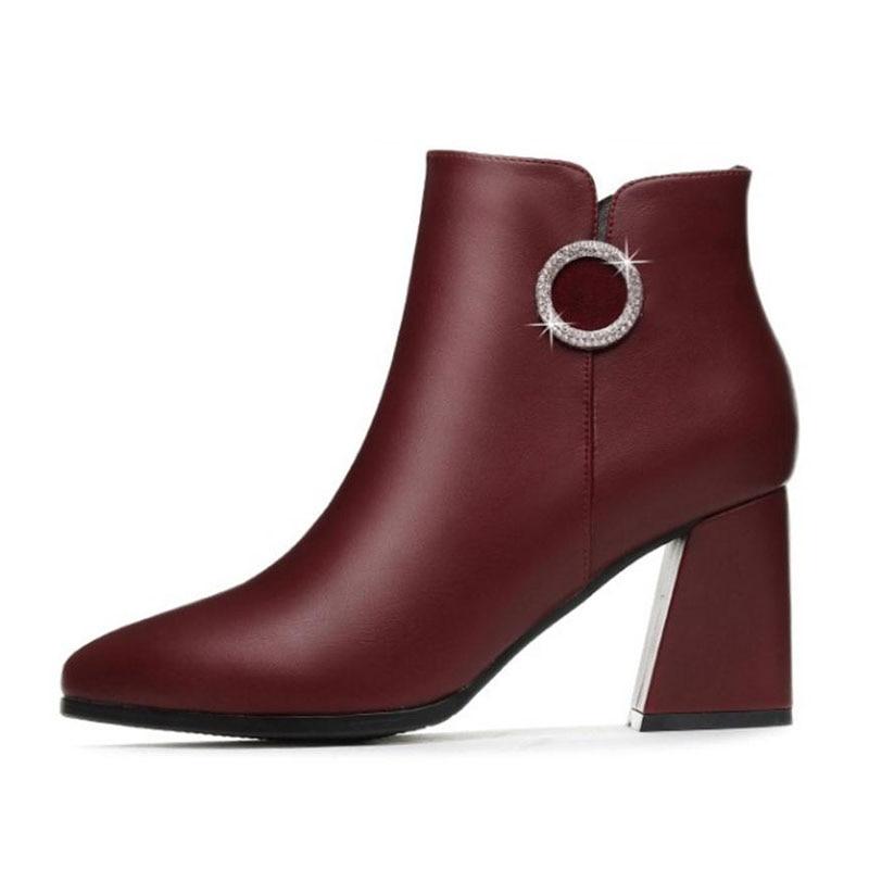 8c8d7b1c9 Alto 35 Adornado Tacón De Mujer Negro Brillo Botas Grueso Tamaño Zapatos  rojo 39 Cremallera Decoración Tobillo Misakinsa Con Moda nEZOWn