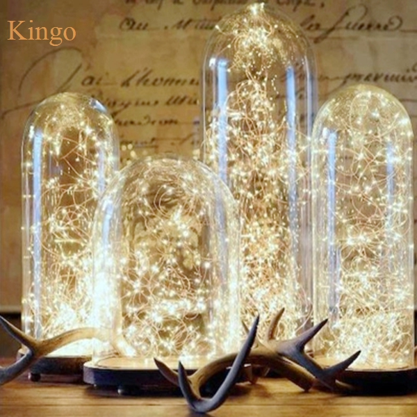 Led String Christmas Lights Copper Sliver Wire 2M 20Led Battery Operater Outdoor Indoor Garland Living Room Light