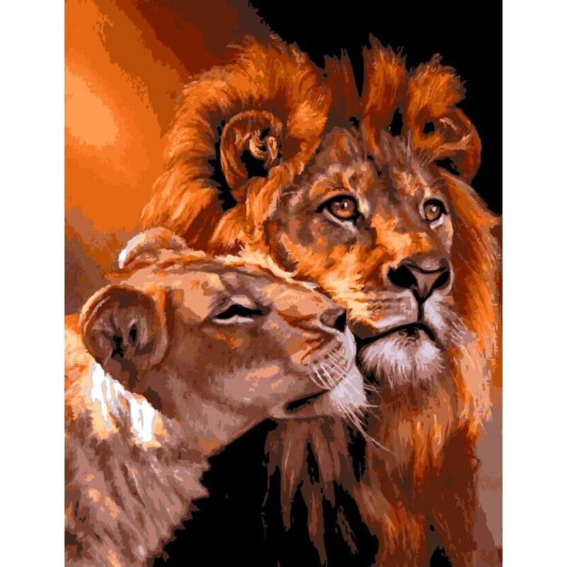 ̿̿̿(•̪ )Colorear por los números pintados a mano del León en la lona ...
