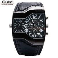 OULM Mens Watches Top Brand Luxury Big Watch Man Quartz Military Sport Watch Genuine Leather Men