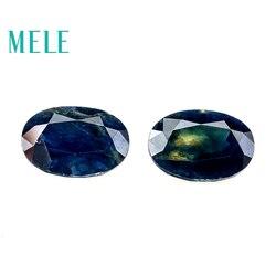 Doğal Mavi Safir gevşek taş takı yapımı için, 4*6*8mm oval 0.5-1ct 2 p güzel takı DIYstones Yüksek kalite ile