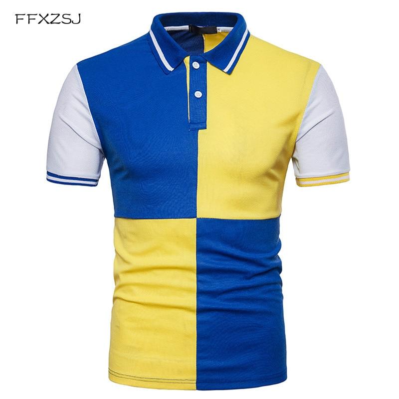 2018 zomer causale polo shirt modemerk mannen Cross patchwork kleur - Herenkleding