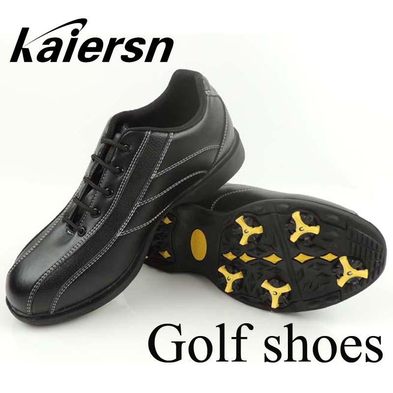 New Kaiersn Professional Men's golf shoes golf Sneakers waterproof golf sport shoes with spikes black color Top quality