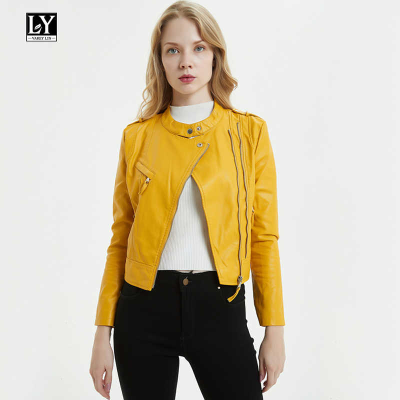 Ly Varey Lin Autumn Faux Soft Leather Women Short Jacket Epaulet Zippers Motorcycle Pu Leather Jackets Female Yellow Outwear