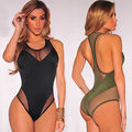 2017 Sexy Women's Crew novelty  Neck Sheer Mesh Sleeveless Leotard Bodysuit Top