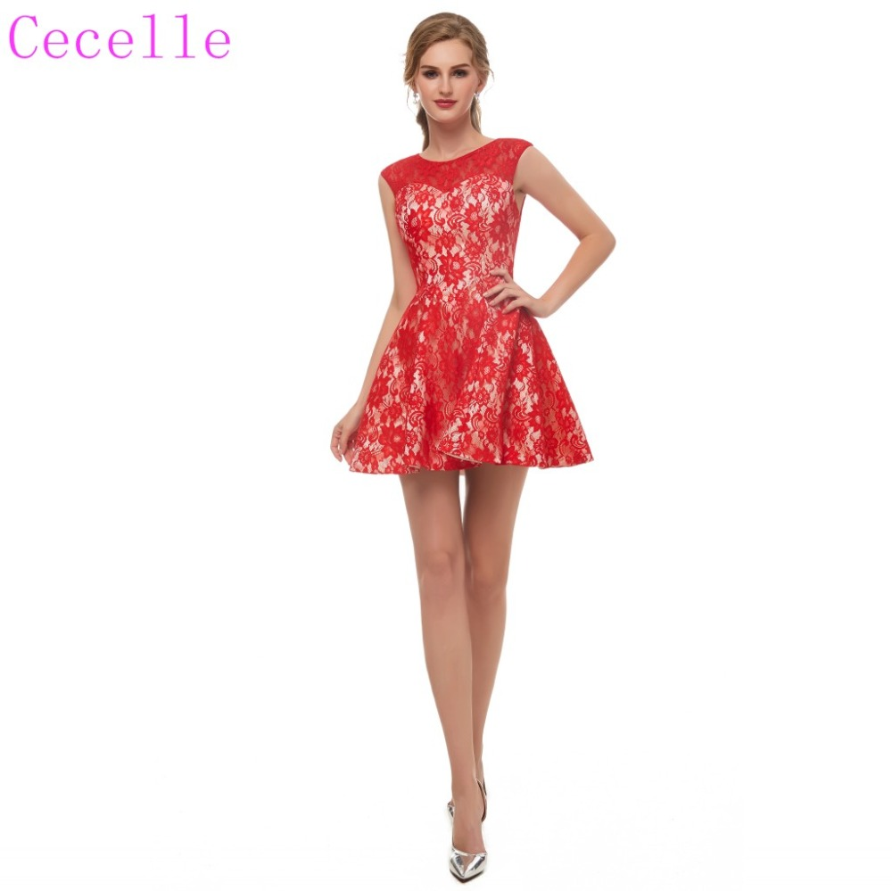 2019 New Arrival Red Lace Short   Cocktail     Dress   Sleeveless Informal Teens Party   Dress