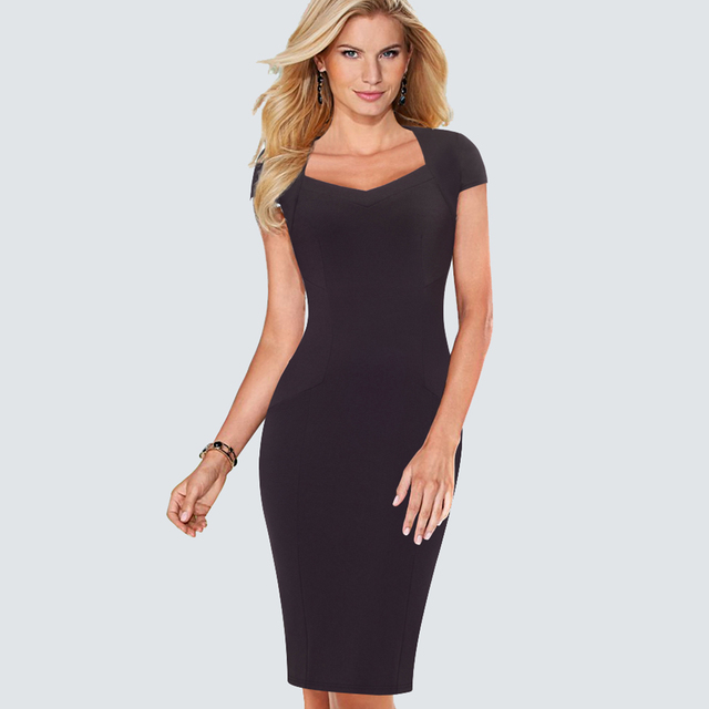 Women Casual Wear To Work Office Business Cap Sleeve Bodycon Dress