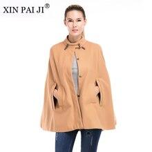 XIN PAI JI New 2017 Autumn Winter Woolen Coat Casual Women Turtleneck Cloak Single Breasted Wool Outerwear