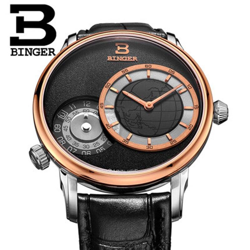 Натуральная Швейцария Binger бренд мужчины кварц сапфир часы Traveler серии кожаный ремешок водонепроницаемый два несколько часовых поясов GMT