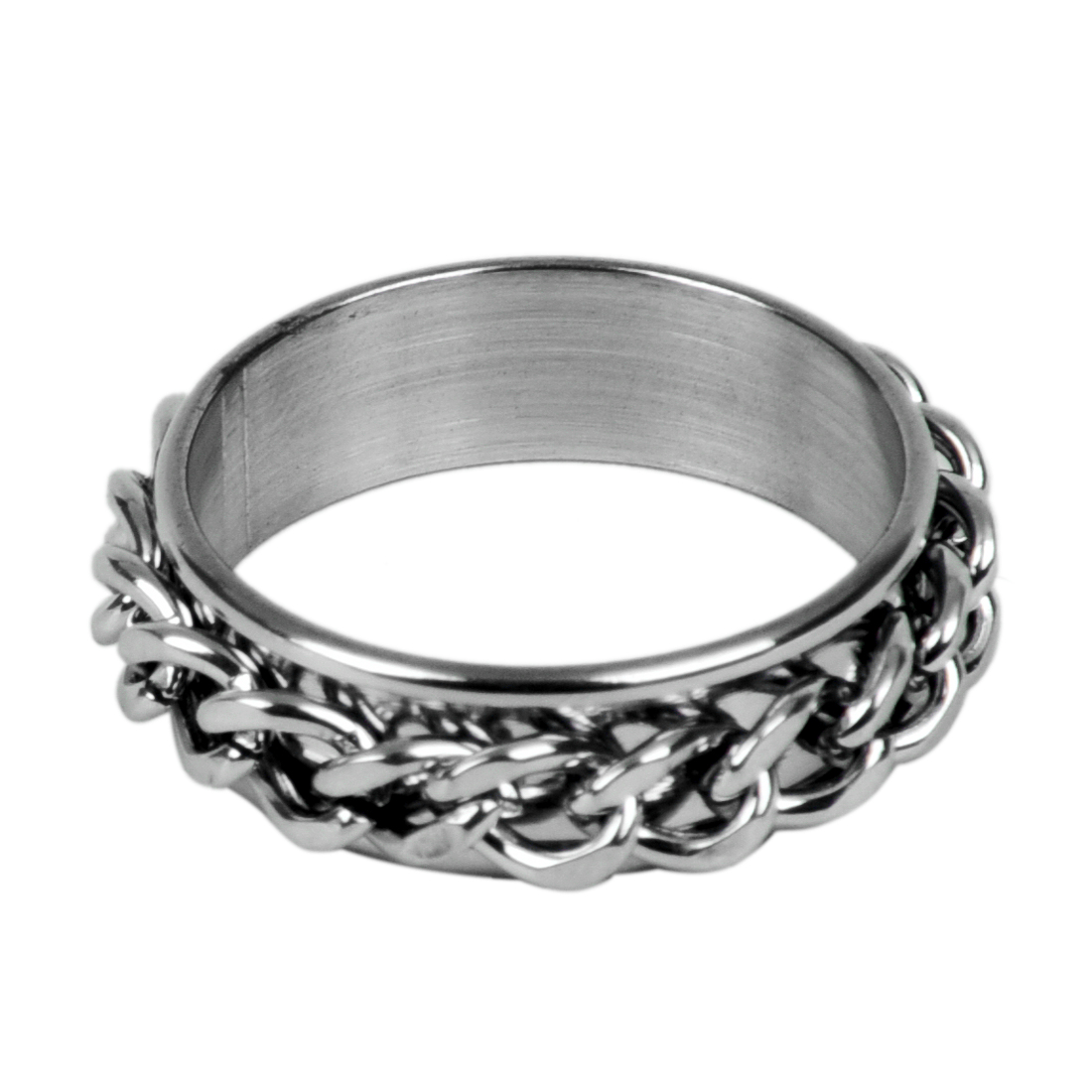Mens Stainless Steel Curb Chain Band Ring UK Size: T 1/2 - Silver