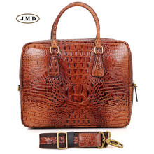 J.M.D New Style Genuine Cow Leather Brown Color Crocodile Pattern Unique Design Multifunction Laptop Bag Handbag 7366B