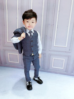 2018 formal blue Boys suits for weddings Kids Prom Suits Black Wedding Suits Kids Big Children suit Boy Classic Costume 3pcs