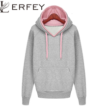 Women Autumn Winter Sweatshirt Casual Double Hoodies Long Sleeve Female Pullover Loose Tops Sweatshirts font b