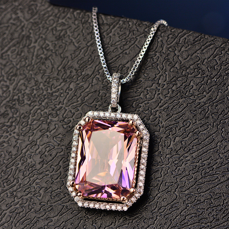 Vintage Pendant For Women Big Square Pink S925 Sterling Silver Topaz & Cubic Zirconia Necklace Temperament Fine Jewelry No Chain
