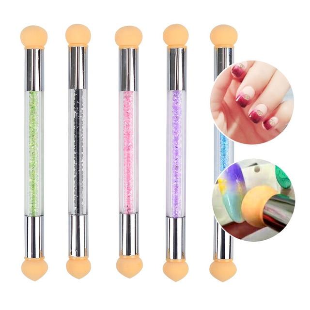 2 Heads Nail Art Sponge Gradient Brush Acrylic Gel Polish Gradual Color Transfer Rhinestone Sequins Pick Up Dot Paint Draw Pen