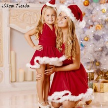 christmas mommy and me family matching mother daughter dresses clothes striped mom and daughter dress kids sister child outfits
