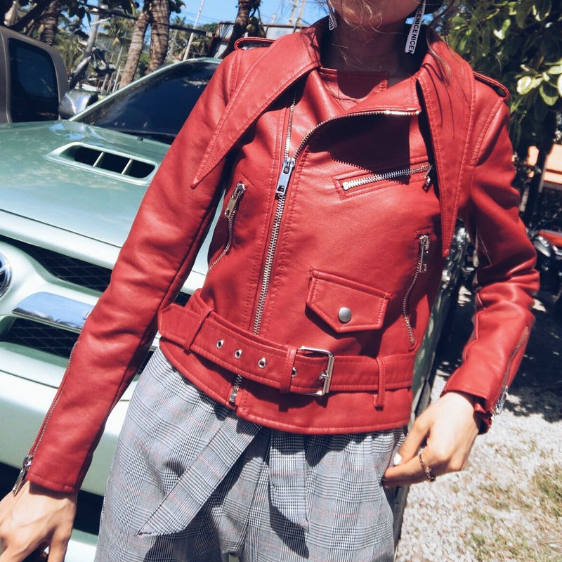 2018 New Hot Women Autumn Winter Motorcycle Faux   Leather   Jackets Lady Biker PU Zippers Outerwear Coat with Belt Drop Shipping